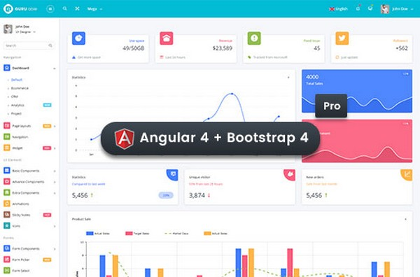 Download Guru Able BS 4 & Angular 4 Dashboard